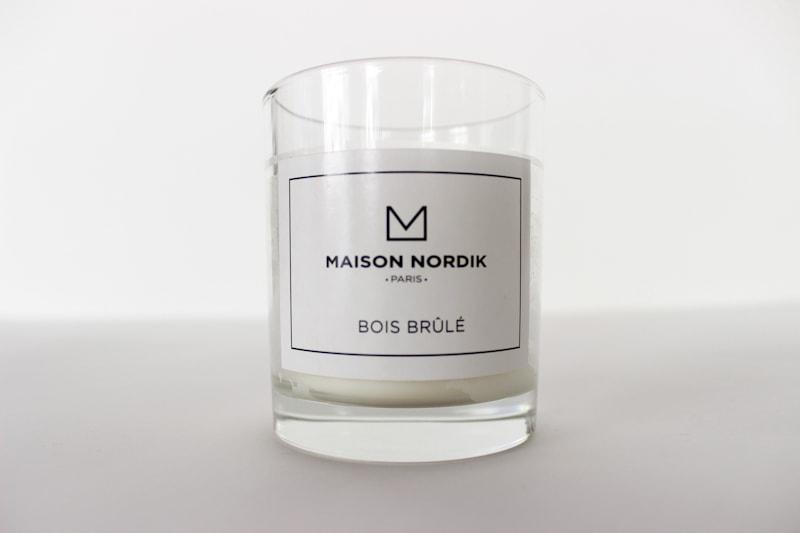bougie parfumées maison nordik paris bois noir bois brûlé figuier fleur d'oranger feuille de tomate ambre senteur cire