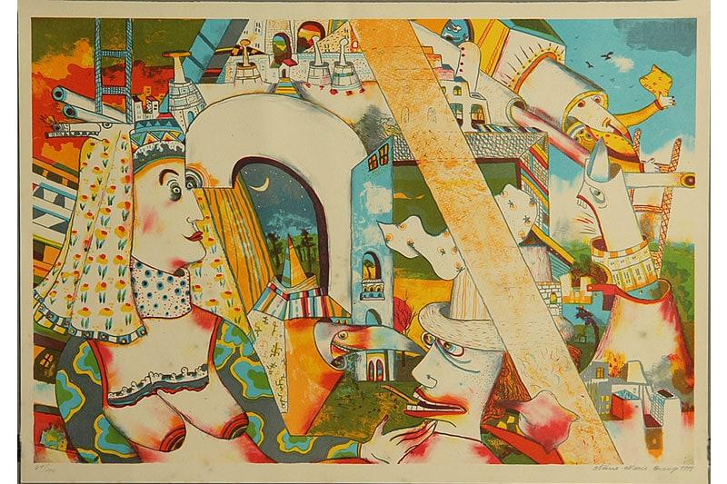 danish modern vintage teck palissandre rio années 50 années 60 années 70 mobilier ancien danois danemark scandinave maison nordik paris meubles design designer décoration art peinture peintre lithographie Anne Marie Brauge