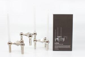 Bougeoir bougie argenté doré pack 3 Werner Stoff Design Hans Nagel maison nordik paris