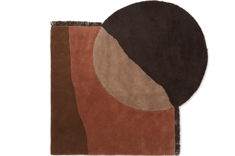 danish modern mid century vintage teck palissandre rio années 50 années 60 années 70 mobilier meuble ancien danois danemark scandinave maison nordik paris meubles décoration design editeur designer ferm living tapis modèle view tufted rug 2 couleurs beige ou red brown