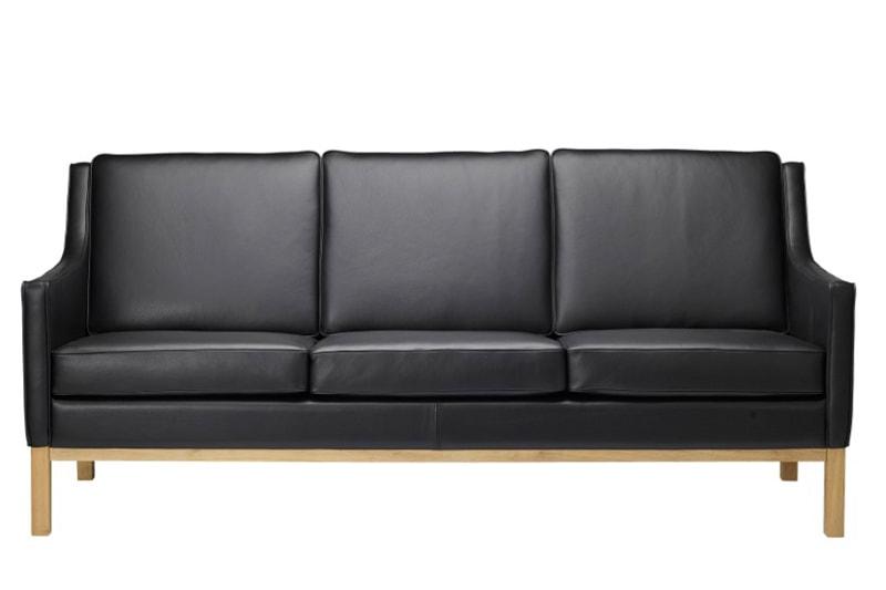danish modern mid century vintage teck palissandre rio années 50 années 60 années 70 mobilier meuble ancien danois danemark scandinave maison nordik paris meubles décoration design editeur fdb designer Erik Wørts canapé 3 places en cuir modèle L601-3 assise s'assoir siège chaise avec accoudoirs fauteuil sofa
