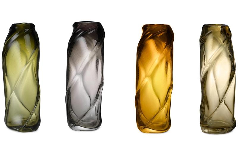 danish modern mid century vintage teck palissandre rio années 50 années 60 années 70 mobilier meuble ancien danois danemark scandinave maison nordik paris meubles décoration design éditeur designer marque ferm living vase en verre modèle water swirl vase 4 coloris smoked grey, moss green, amber, light yellow